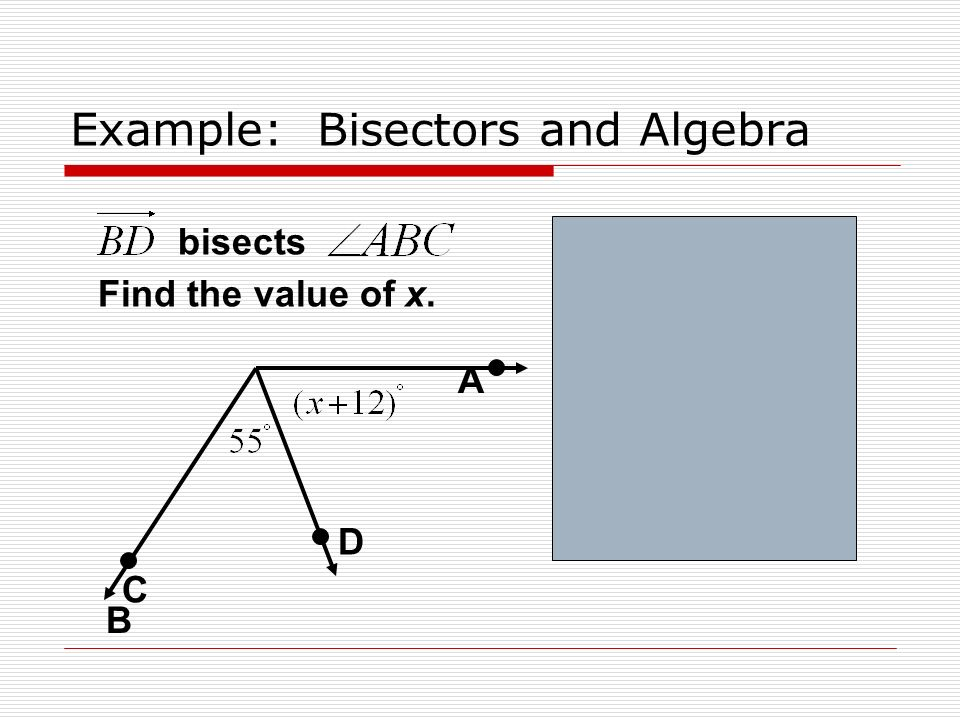 Example: Bisectors and Algebra