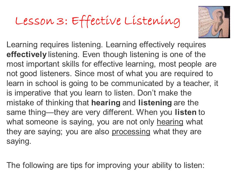 Lesson 3: Effective Listening