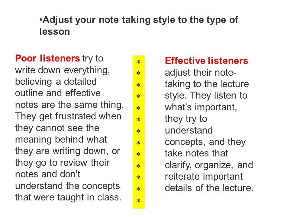 Adjust your note taking style to the type of lesson