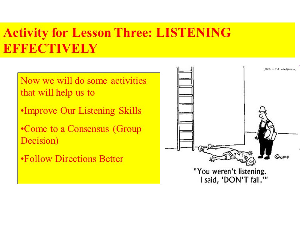 Activity for Lesson Three: LISTENING EFFECTIVELY