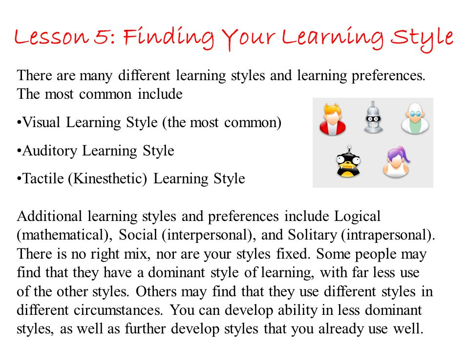 Lesson 5: Finding Your Learning Style