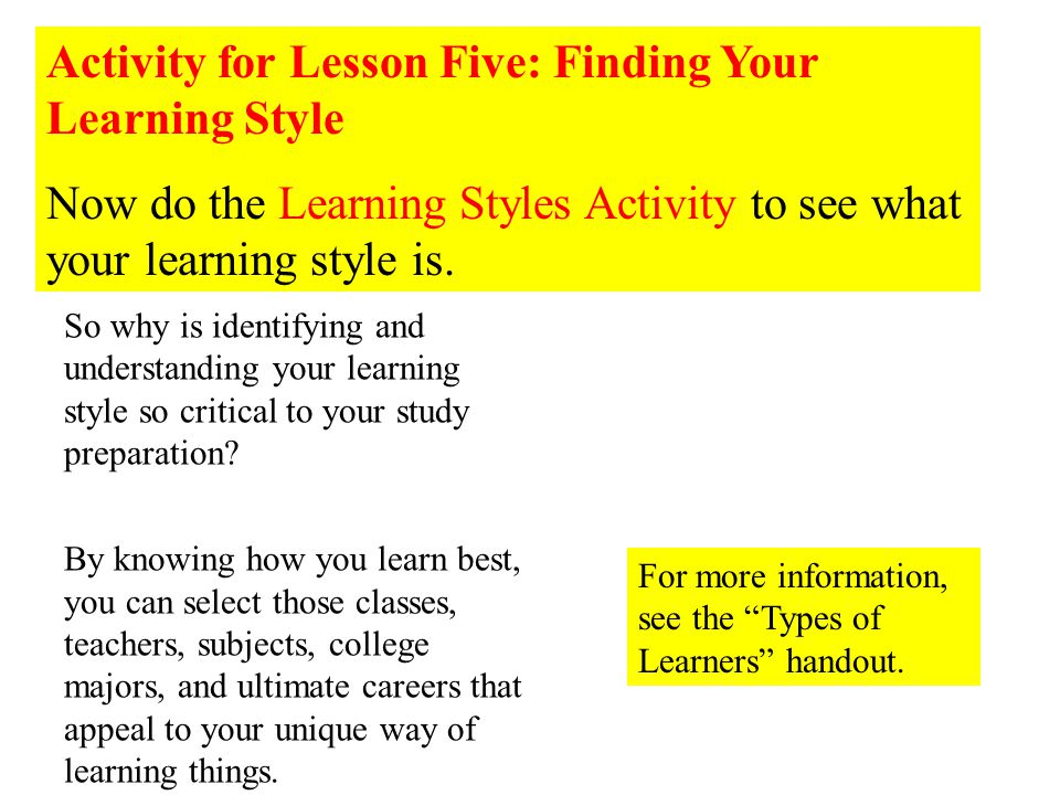Activity for Lesson Five: Finding Your Learning Style