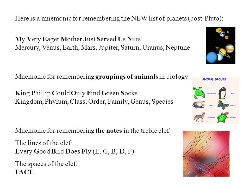Here is a mnemonic for remembering the NEW list of planets (post-Pluto):