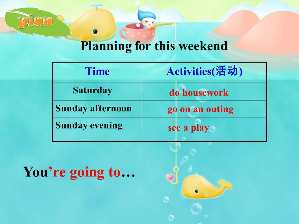 You're going to… Planning for this weekend Time Activities(活动)