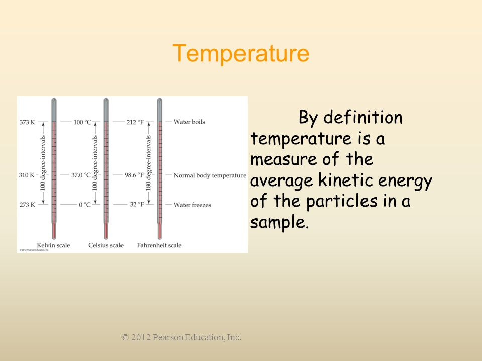 Temperature By definition temperature is a measure of the average kinetic energy of the particles in a sample.