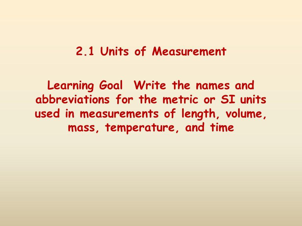 2.1 Units of Measurement