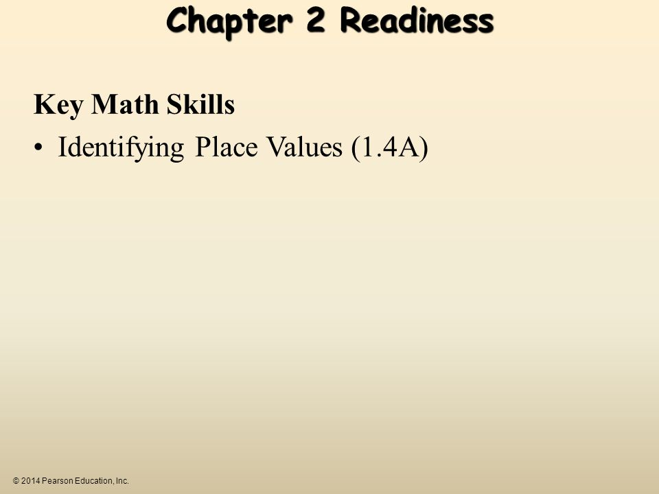 Chapter 2 Readiness Key Math Skills Identifying Place Values (1.4A)