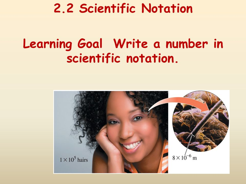 Learning Goal Write a number in scientific notation.