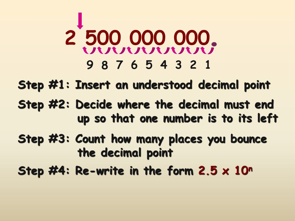. 2 500 000 000. 9. 8. 7. 6. 5. 4. 3. 2. 1. Step #1: Insert an understood decimal point. Step #2: Decide where the decimal must end.