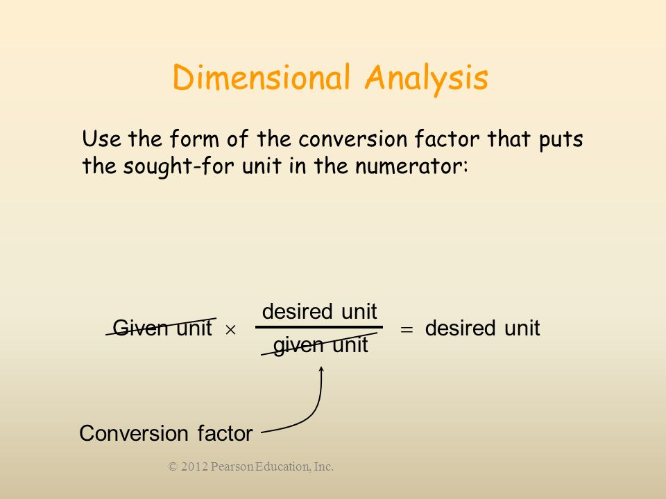 Dimensional Analysis Use the form of the conversion factor that puts the sought-for unit in the numerator:
