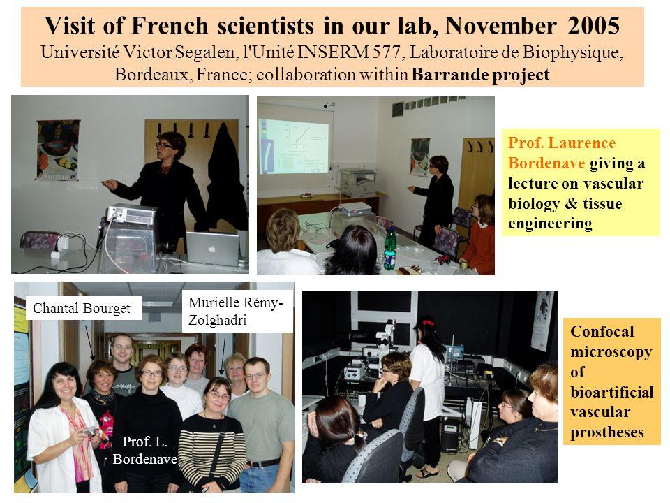Visit of French scientists in our lab, November 2005 Université Victor Segalen, l Unité INSERM 577, Laboratoire de Biophysique, Bordeaux, France; collaboration within Barrande project