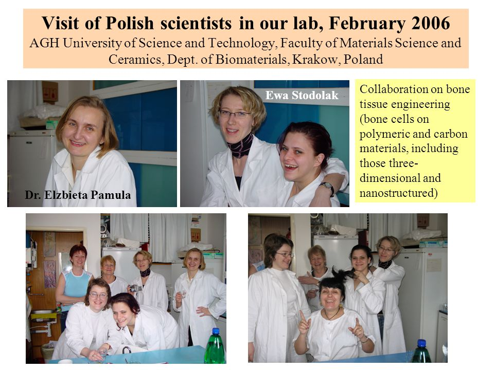 Visit of Polish scientists in our lab, February 2006 AGH University of Science and Technology, Faculty of Materials Science and Ceramics, Dept. of Biomaterials, Krakow, Poland