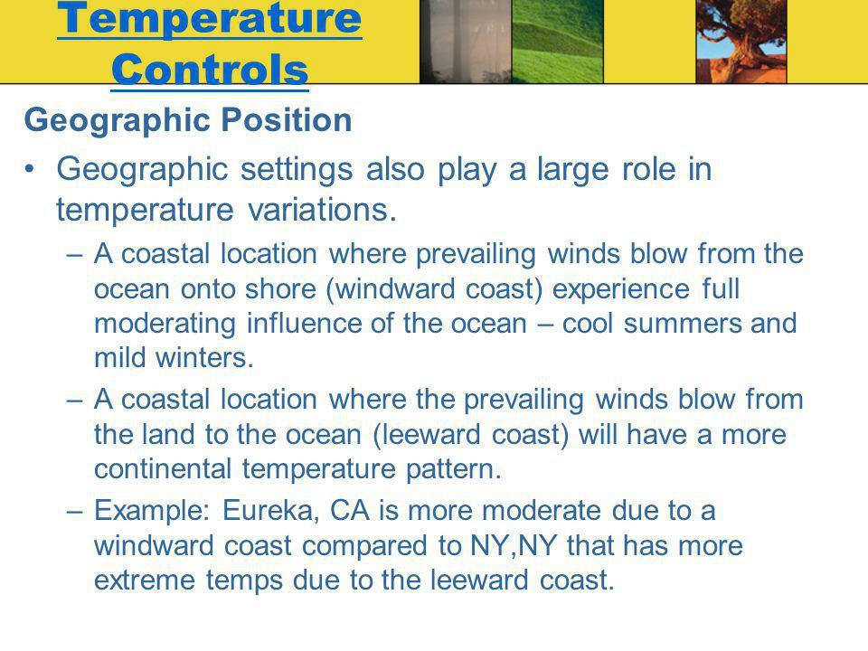 Temperature Controls Geographic Position