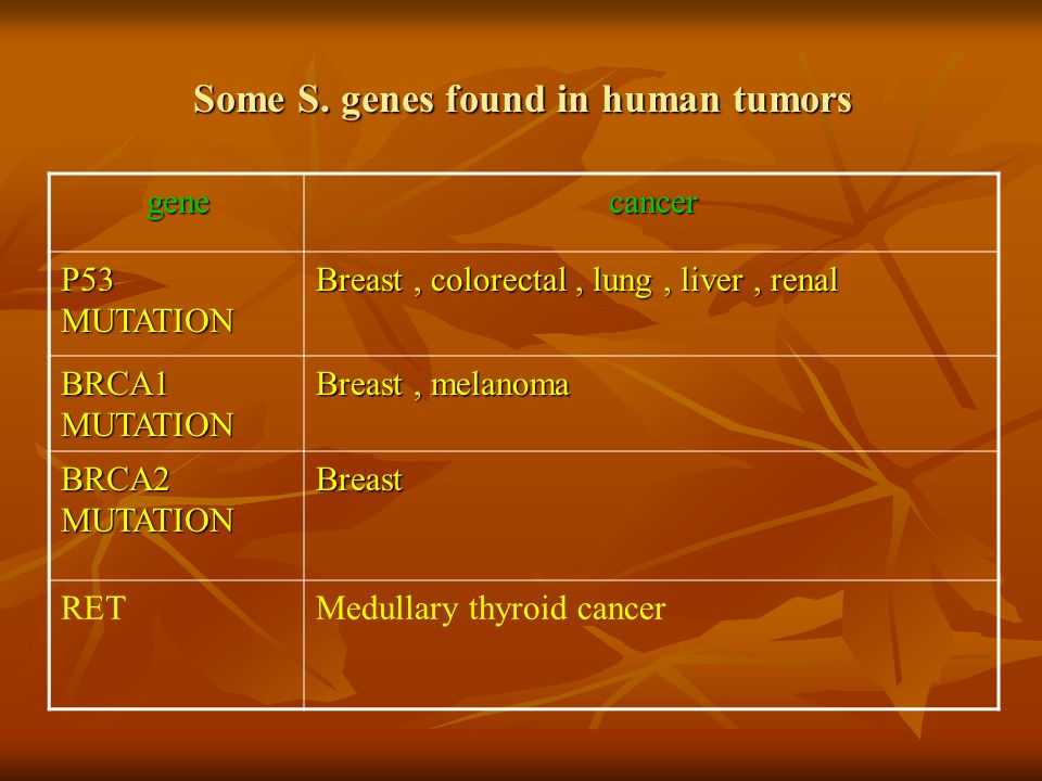 Some S. genes found in human tumors