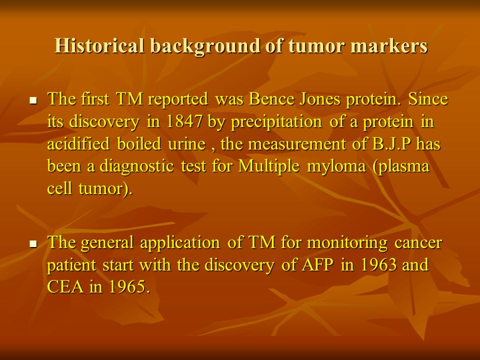 Historical background of tumor markers