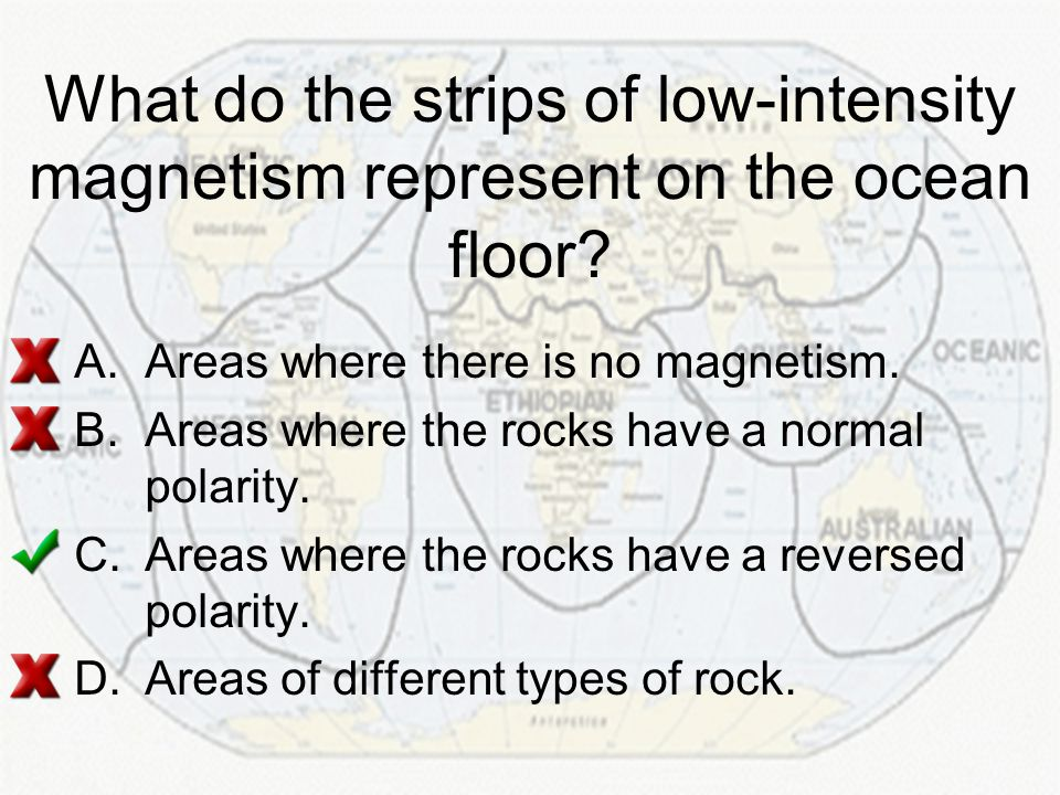 What do the strips of low-intensity magnetism represent on the ocean floor
