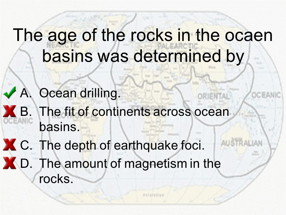 The age of the rocks in the ocaen basins was determined by