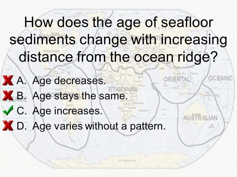 How does the age of seafloor sediments change with increasing distance from the ocean ridge