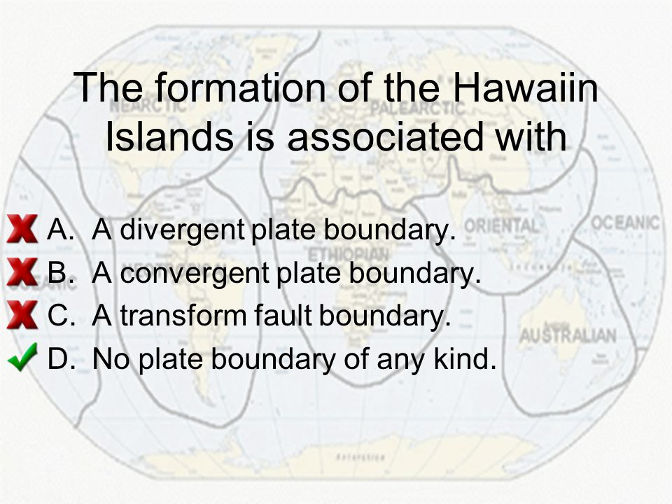 The formation of the Hawaiin Islands is associated with