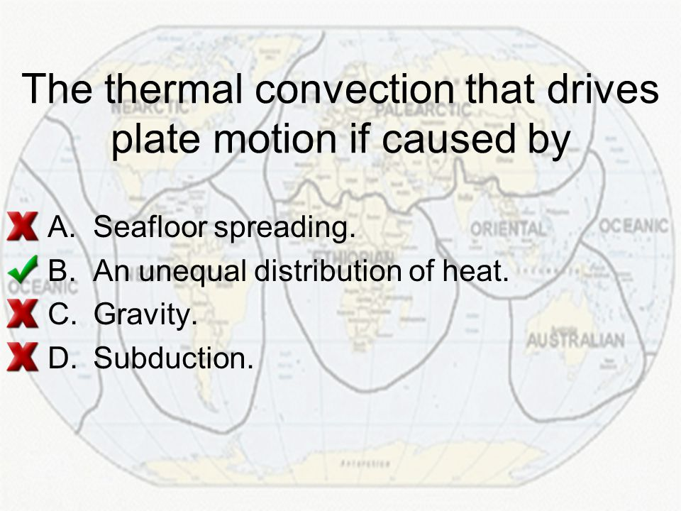 The thermal convection that drives plate motion if caused by