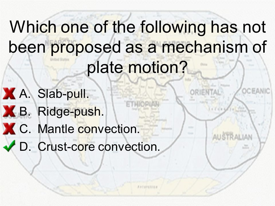 Which one of the following has not been proposed as a mechanism of plate motion