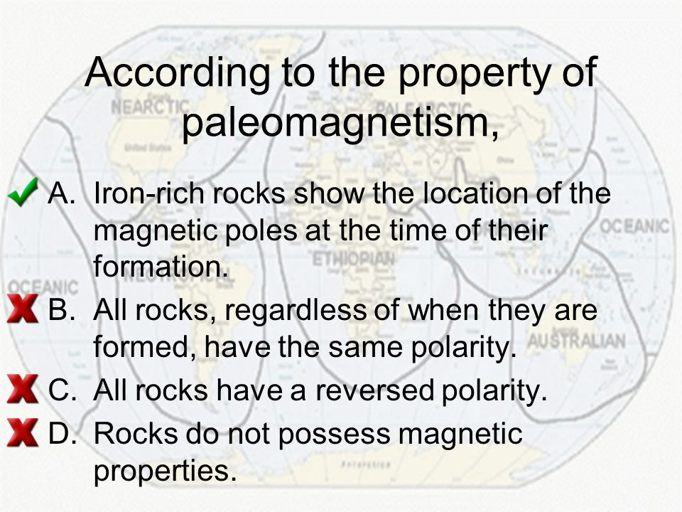 According to the property of paleomagnetism,