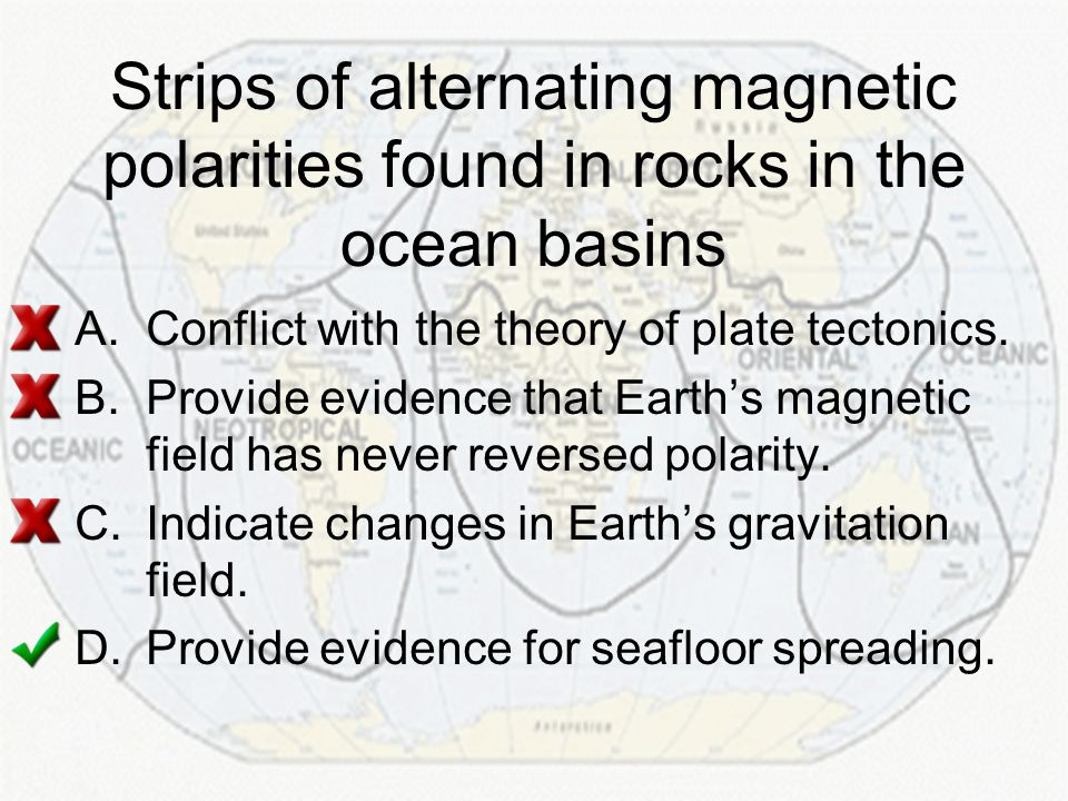 Strips of alternating magnetic polarities found in rocks in the ocean basins