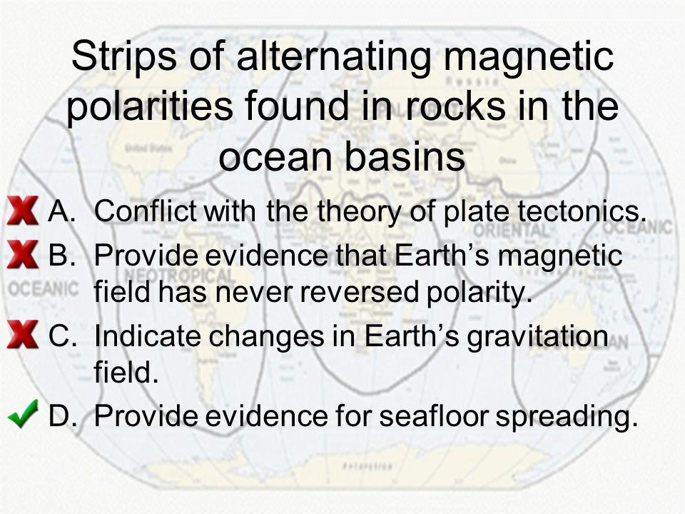 Strips of alternating magnetic polarities found in rocks in the ocean basins