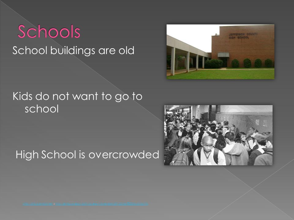 Schools School buildings are old Kids do not want to go to school High School is overcrowded