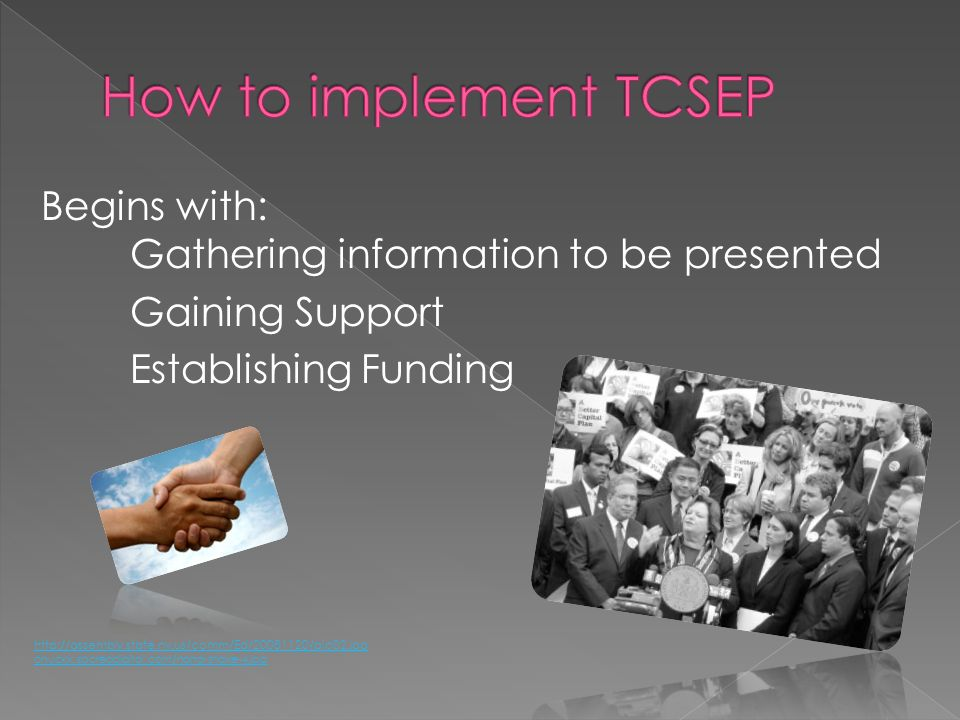 How to implement TCSEP Begins with: Gathering information to be presented Gaining Support Establishing Funding
