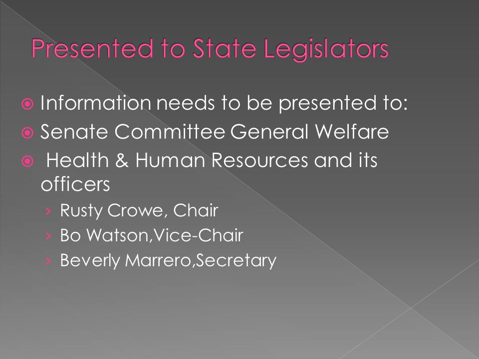 Presented to State Legislators