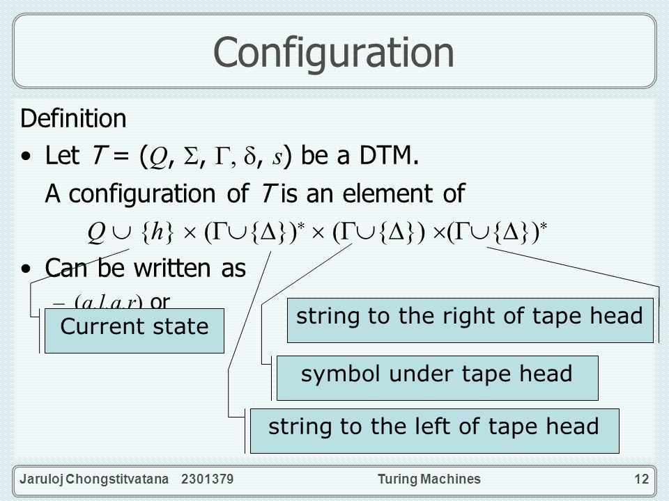 Configuration Definition Let T = (Q, , , , s) be a DTM.