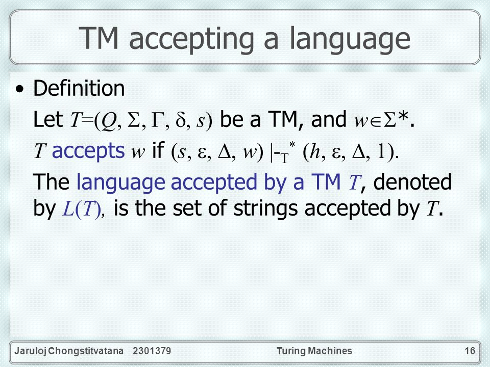 TM accepting a language
