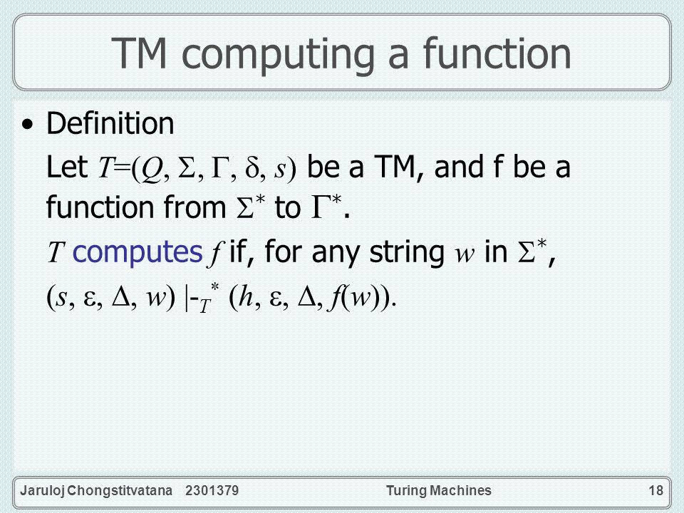TM computing a function