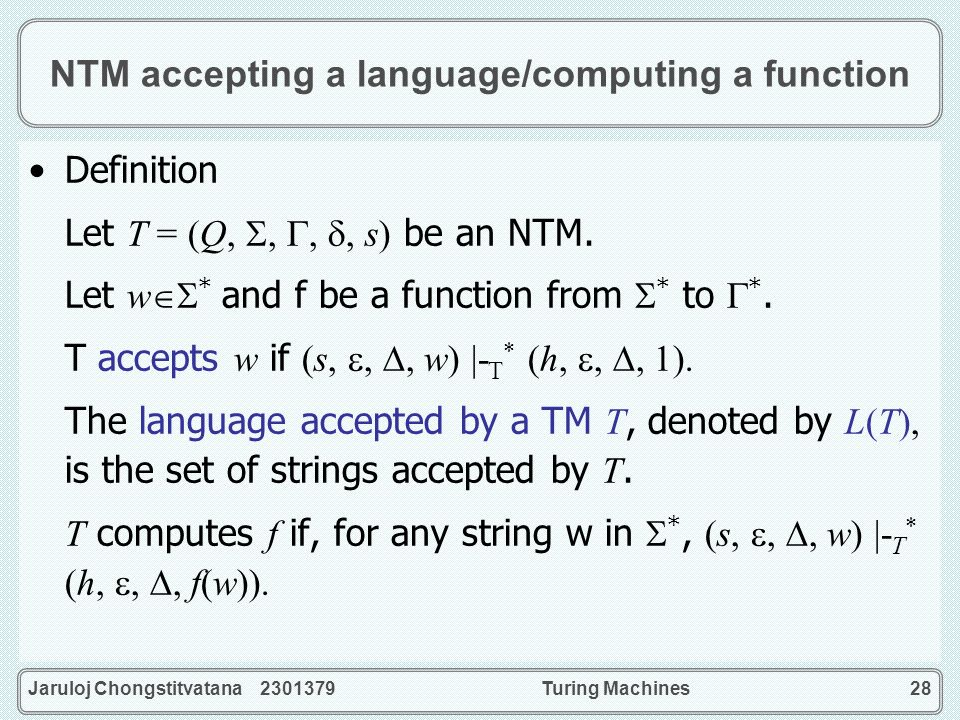 NTM accepting a language/computing a function