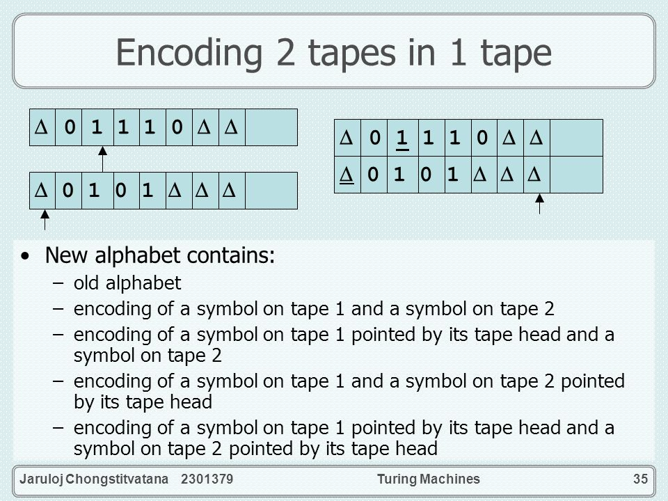 Encoding 2 tapes in 1 tape  0 1 1 1 0    0 1 1 1 0  