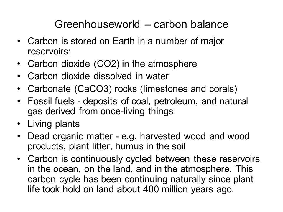 Greenhouseworld – carbon balance