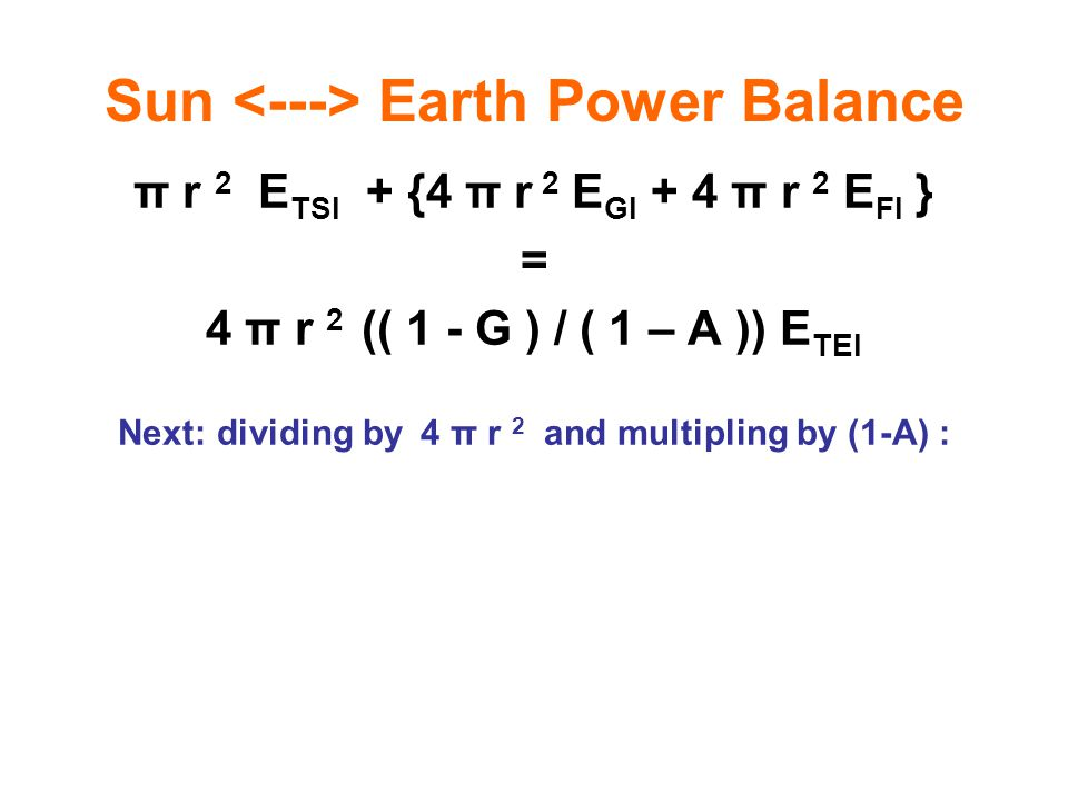 Sun <---> Earth Power Balance