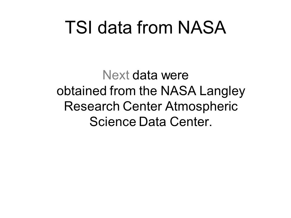 TSI data from NASA Next data were obtained from the NASA Langley Research Center Atmospheric Science Data Center.