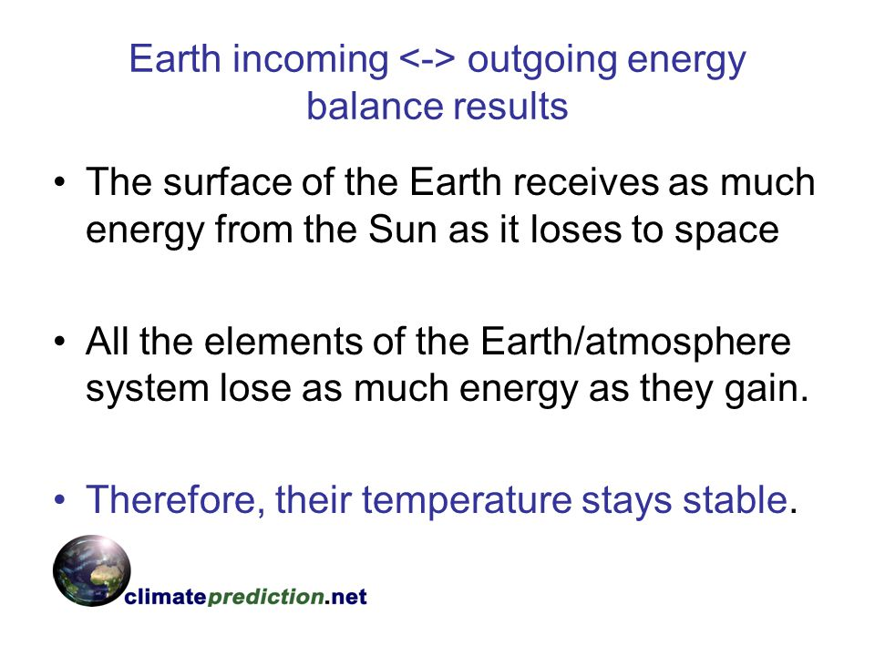 Earth incoming <-> outgoing energy balance results