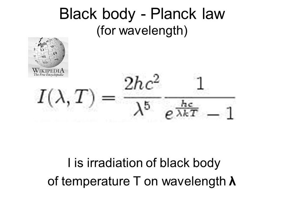 Black body - Planck law (for wavelength)