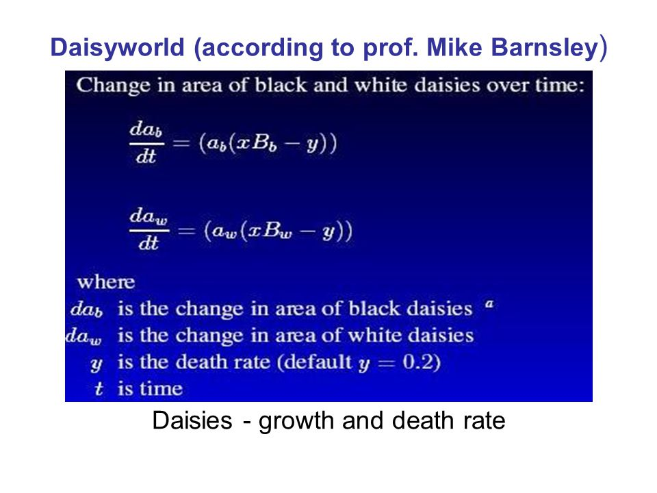 Daisyworld (according to prof. Mike Barnsley)