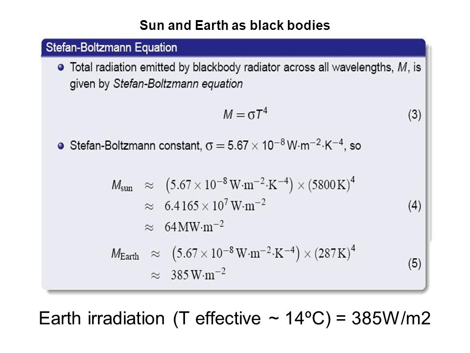 Sun and Earth as black bodies