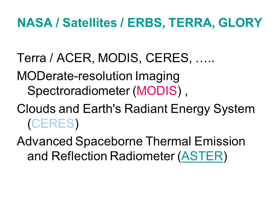NASA / Satellites / ERBS, TERRA, GLORY