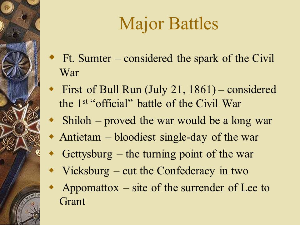 Major Battles Ft. Sumter – considered the spark of the Civil War