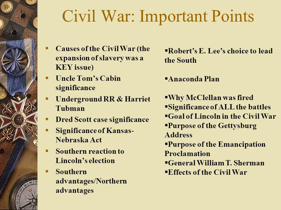 Civil War: Important Points