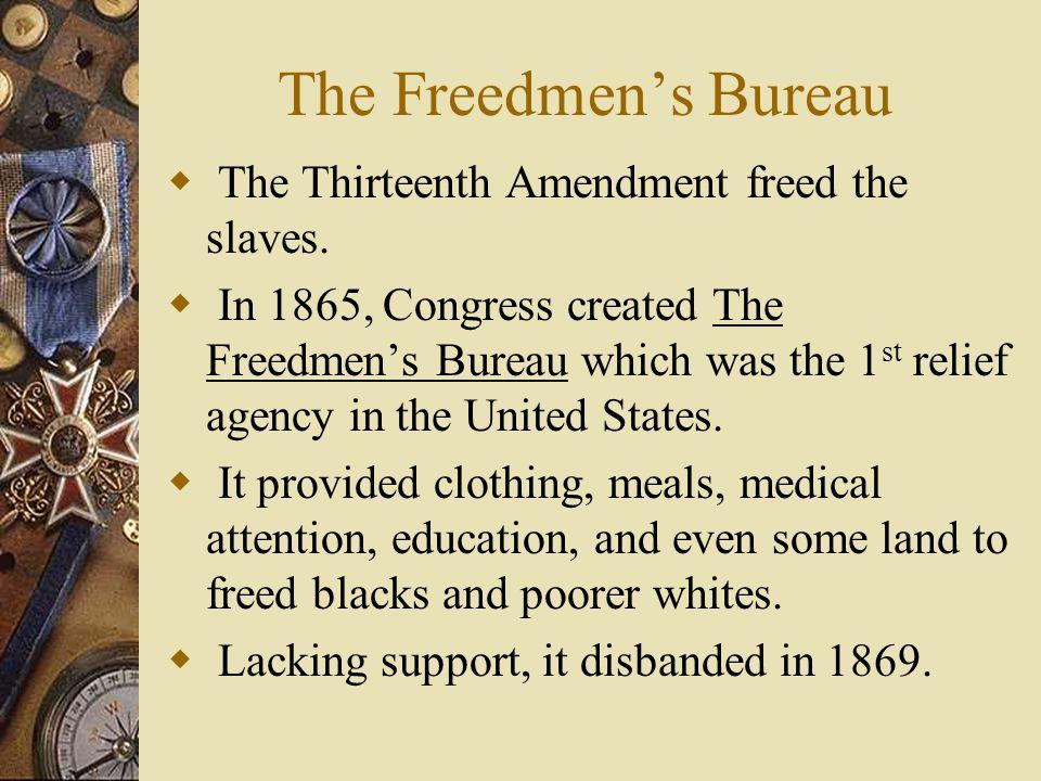 The Freedmen's Bureau The Thirteenth Amendment freed the slaves.