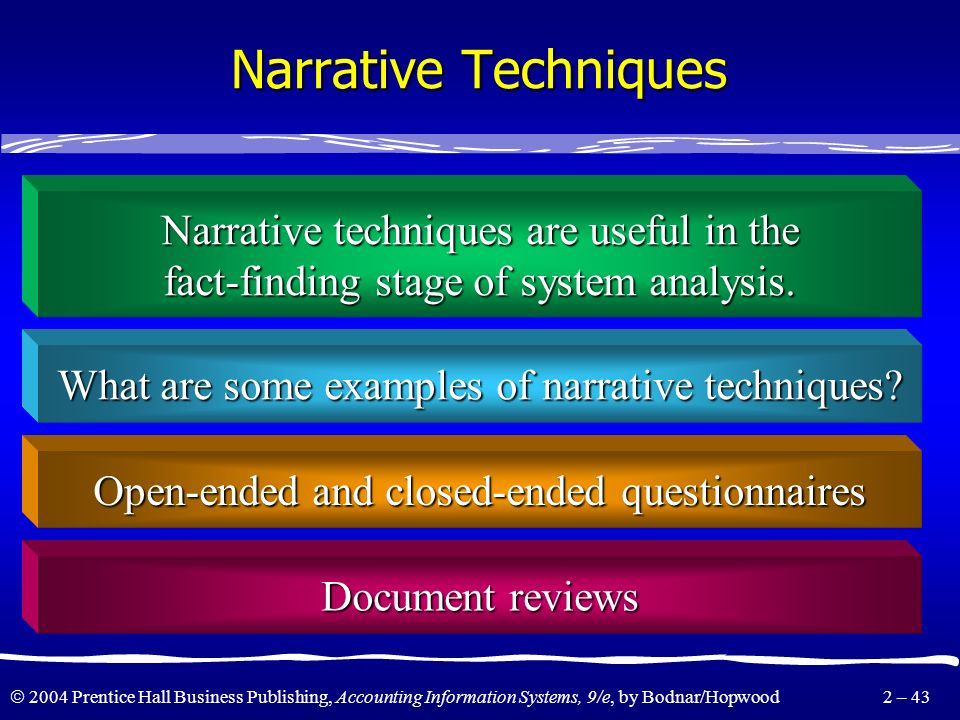 Narrative Techniques Narrative techniques are useful in the