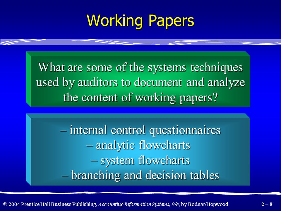 Working Papers What are some of the systems techniques