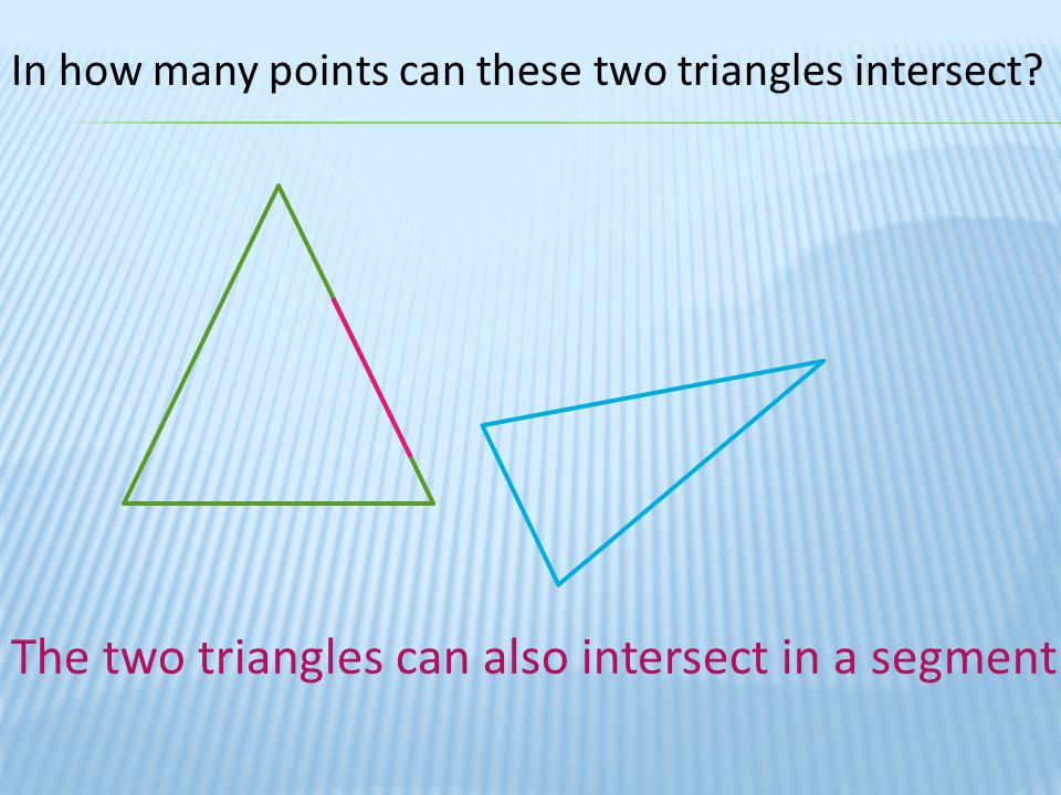The two triangles can also intersect in a segment
